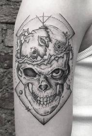 手臂简洁的骷髅黑灰纹身图案