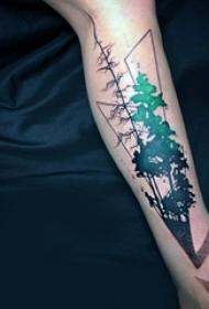 简单个性线条纹身风景图植物纹身图案