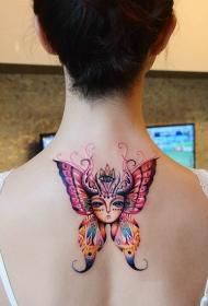 蝴蝶女神美女后背炫彩纹身图案