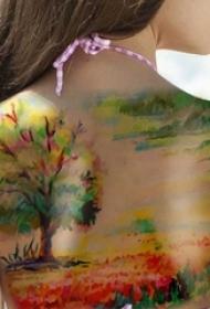 彩色的手臂山水纹身花朵纹身风景大自然植物纹身图案