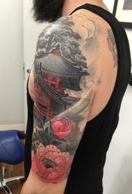 手臂意境牡丹花建筑纹身图案