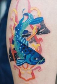小腿彩色的鲤鱼纹身图案