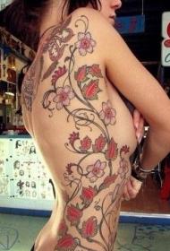 个性美女侧腰花蕊图腾纹身图案