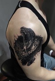 手臂3d撕皮蛇创意纹身图案