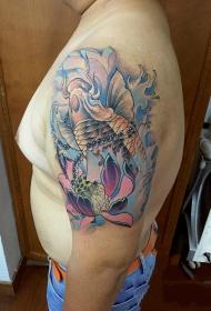大臂锦鲤戏水莲花间彩绘纹身图案