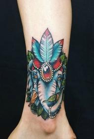 女生腿部彩色大象树叶珠宝纹身图案