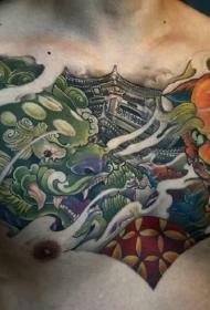 胸部浓情中国风传统唐狮彩绘纹身图案