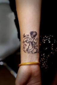 手臂小天使背影可爱纹身图案