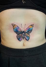 腹部水彩蝴蝶舞动个性纹身图案