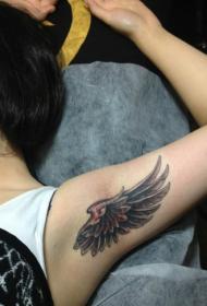 女生腋下手臂一款翅膀纹身图案