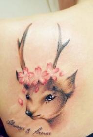 肩部唯美的小鹿花朵字母彩色纹身图案
