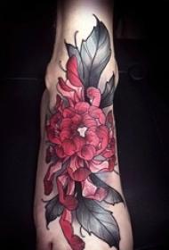 一组充满活力的野性花朵纹身和动物纹身图案