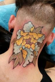 后颈部牡丹花彩绘纹身图案