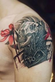 手臂个性骷髅花蕊纹身图案