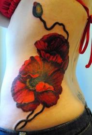 女性腰部红色罂粟花纹身图案