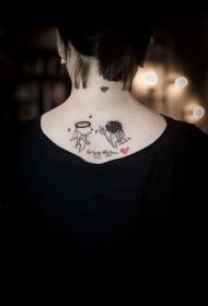 后背小天使与恶魔可爱纹身图案