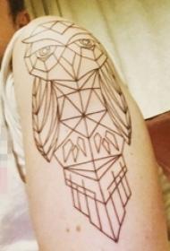 手臂黑白灰风格几何元素简单个性线条猫头鹰纹身图片