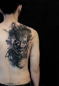 后背蝙蝠侠与小丑肖像纹身图案