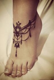 脚背少女心唯美脚链纹身图案