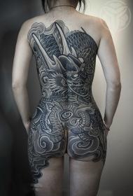 满背神龙个性黑灰纹身图案