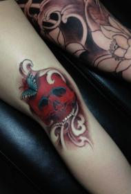 创意红色骷髅蝴蝶腿部刺青图案