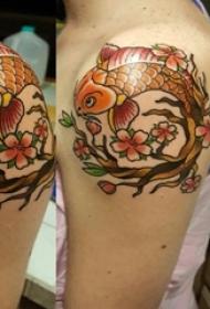肩部彩绘纹身技巧小清新植物纹身花朵纹身树枝纹身金鱼纹身图片