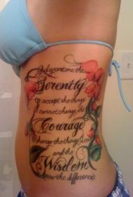 美女腰部彩绘花朵藤蔓和英文字母组合纹身图案