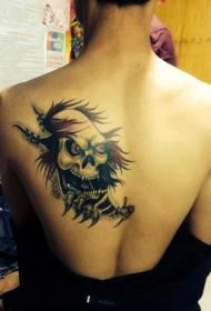 背部帅气的骷髅头撕皮纹身图案