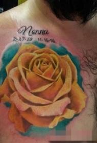 男性胸部植物玫瑰花彩色纹身图片