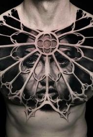 胸部3d欲望的牢笼肖像纹身图案