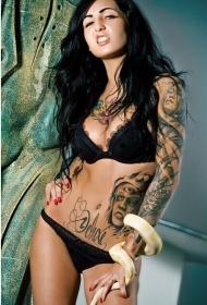 性感霸气美女手臂腹部魅力迷人纹身图案