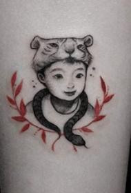 9款微妙和感人的简单个性线条纹身小孩子纹身图案