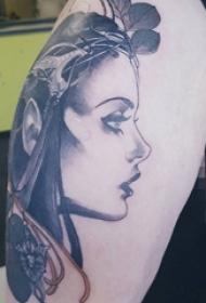 手臂上黑白灰风格点刺技巧植物素材叶子素材人物肖像纹身图片