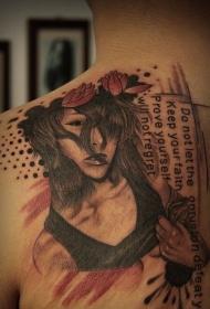 背部欧美女性和字母花蕊纹身图案