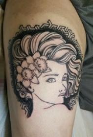 大腿上黑白灰风格点刺植物素材花朵人物肖像纹身图片
