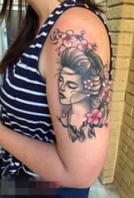 手臂植物素材花朵人物肖像纹身图片