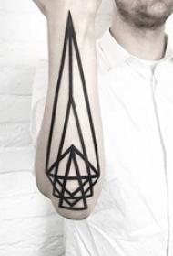 10款简洁几何元素纹身个性线条纹身图案大全