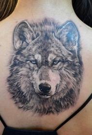 背部好看潮流的狼头纹身图案