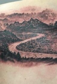 男生肩部纹身黑白灰风格纹身点刺技巧山水纹身风景图片