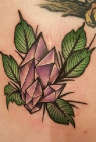 手臂上彩绘叶子素材简约线条纹身水晶图案纹身图片