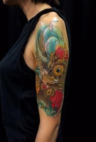 手臂猫头鹰卡通彩绘纹身图案