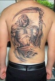 后背死神黑灰纹身图案