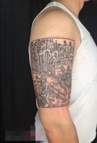 男生手臂上建筑物纹身人物纹身图案大全