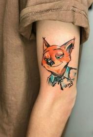 手臂狐狸尼克卡通彩绘纹身图案