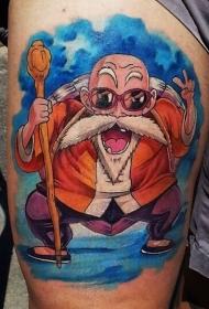 大腿彩绘七龙珠龟仙人卡通纹身图案