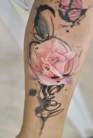 小腿水彩玫瑰个性纹身图案