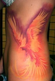 个性美女侧腰神奇的浴火凤凰纹身图案