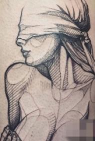 一组黑白灰风格纹身素描技巧人物肖像纹身图案