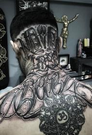 头部和颈部花体字母黑灰个性纹身图案