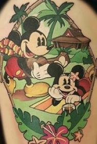 一组充满童年回忆的简单个性线条纹身米老鼠纹身图案
